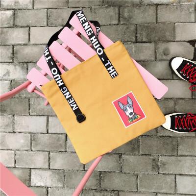 帆布单肩包闺蜜街拍女包韩版原宿ulzzang校园中学生小学生补课包 黄色 礼物 发货周期:一般在付款后2-90天左右发货,具体发货时间请以与客服协商的时间为准