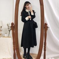 法式复古裙黑色很仙的连衣裙女秋冬新款裙子韩版宽松过膝长裙