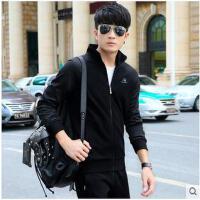 男青年两件套立领韩范卫衣休闲装外套男士跑步服运动套装