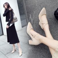 尖头单鞋女粗跟2019新款春夏大小码高跟鞋女浅口工作鞋百搭绒面罗马女鞋