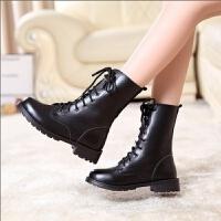 欧美中筒靴马丁靴女短靴平底单靴黑色机车靴女军靴骑士靴大码 黑色 35