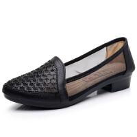 新款老北京女鞋单鞋时尚夏季镂空女士鞋水钻浅口软底网鞋 黑色 S2817