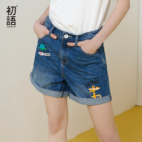 初语夏季新款 zootopia印花卷边宽松阔腿牛仔短裤