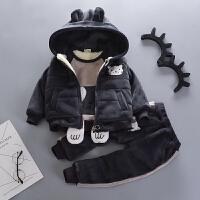 男宝宝冬装套装冬季衣服帅气男童三件套潮