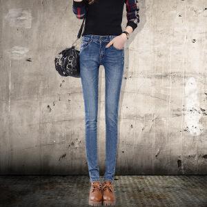 Modern idea显瘦大码弹力牛仔裤女长裤紧身小脚铅笔裤子