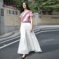 生活在左2018夏装新款绣花真丝短袖上衣女装两件套装桑蚕丝短款
