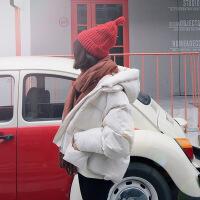 棉衣女短款2018冬装新款韩版羽绒加厚学生面包服宽松连帽外套 米白色(连帽) XS(95斤以下)
