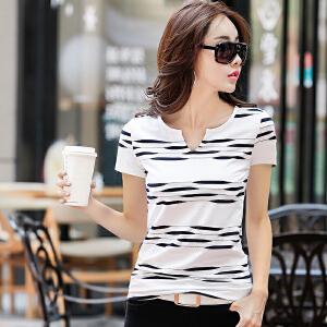 夏季新款女装上衣条纹短袖T恤女韩版修身显瘦V领半袖体恤女潮
