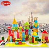 100粒城市交通桶装大块积木榉木制质儿童益智力玩具