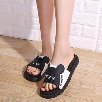 拖鞋女夏外穿韩版厚底松糕学生休闲百搭防滑凉拖女高跟家居鞋