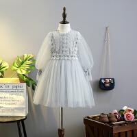 女童春秋蕾丝公主衣裙中大童蓬蓬纱裙童装儿童洋气裙