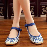 老北京绣花鞋女布鞋单鞋民族风内增高坡跟圆头舞蹈鞋古风鞋休闲鞋