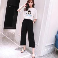 夏季套装女学生韩版2019时尚短袖T恤+阔腿裤夏天休闲两件套女