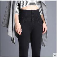 黑色紧身小脚裤 新款休闲女式 烟灰色高腰牛仔裤大码弹力显瘦铅笔裤