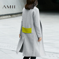 AMII[极简主义]冬女新品纯色宽松长款双面羊毛呢外套11694682