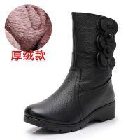 4243大码妈妈靴子女冬新中筒靴坡跟皮靴中老年棉鞋短靴雪地靴 黑色 厚绒 35 脚胖宽拍大一码