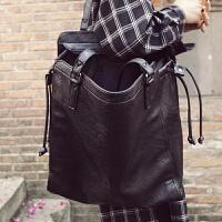 女包新款潮欧美复古简约软皮大包包单肩包手提包个性黑色包包