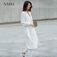 【品牌团 1件7折/2件5折】【预售】Amii2017秋装新品优雅百搭修身显瘦风衣女 11760568