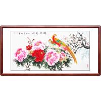 牡丹花画手绘装饰画花开富贵风水客厅现代中式写意花鸟横幅 D款 锦绣前程 四尺横幅 实木装框+有机玻璃