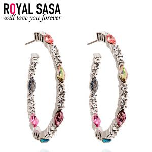 皇家莎莎RoyalSaSa韩国时尚耳饰品 夸张人造水晶中圈耳环韩版个性耳圈耳夹女 06SP029