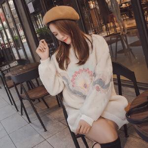 卡茗语秋冬加绒加厚甜美刺绣羊羔绒卫衣女 宽松绒面韩版中长款毛绒卫衣