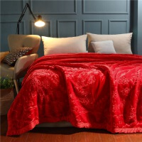 拉舍尔双层加厚保暖8斤大红婚庆毛毯 喜庆结婚超柔盖毯子双人 200*230cm8斤