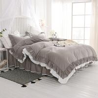 床上用品四件套全棉纯棉公主风蕾丝荷叶花边欧式纯色简约被套床裙