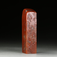 老挝水洞朱砂石 精雕飞龙在天大材印章 jd2436