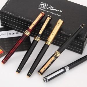 pimio 毕加索美工笔钢笔弯头弯尖902绅士纯黑金夹银夹手绘用美工书法钢笔墨水笔