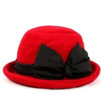 帽子女秋冬天英伦礼帽蝴蝶结卷边时装帽户外保暖盆帽