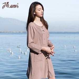 顶瓜瓜睡衣女春季新款蕾丝花边领口长袖纯棉女士开衫针织睡裙