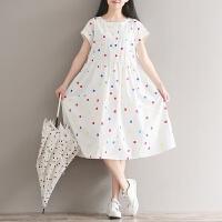 原创孕妇夏装新款韩版中长款森女系七彩方格印花短袖小清新纯棉连衣裙GH045 白色