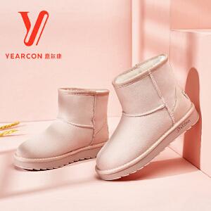 意尔康官方旗舰店女鞋2017冬季新款休闲百搭雪地靴圆头套脚加绒保暖短筒靴