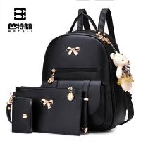 芭特莉2017春季新款双肩包女韩版潮学院风中学生书包可爱小熊挂饰女生背包子母包三件套包包