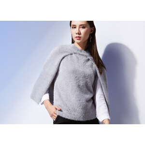 韩版套头毛衣斗篷女短款秋冬季圆领拼接针织衫披肩外套假两件冬装
