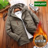 吉普盾 加绒中长款棉服男NIANJEEP加厚大码棉袄保暖棉衣外套冬天外穿上衣8186