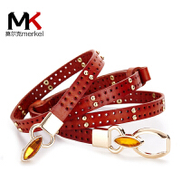 莫尔克(MERKEL)女细毛衣装饰腰带真皮铆钉韩版时尚女式头层牛皮衬衣连衣裙裙带红色皮带