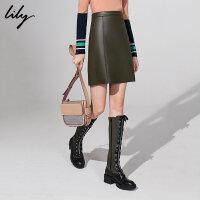 Lily2018冬新款女装简约A型橄榄绿仿皮短裙半身裙118400I6514