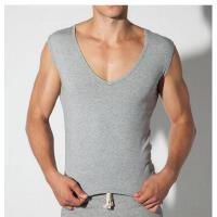 新款男士背心 健身运动低领汗衫休闲大V领男背心