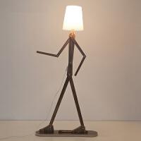 御目 落地灯 北欧创意人型布艺落地灯卧室灯床头灯客厅灯儿童房LED灯台灯暖光灯护眼灯满额减限时抢礼品卡创意灯具