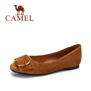 【每满200减100元 满400-200】camel/骆驼女鞋 秋季新款优雅金属方扣单鞋女时尚方头内增高女鞋