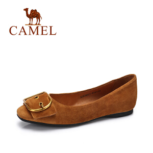 camel/骆驼女鞋 2017秋季新款优雅金属方扣单鞋女时尚方头内增高女鞋