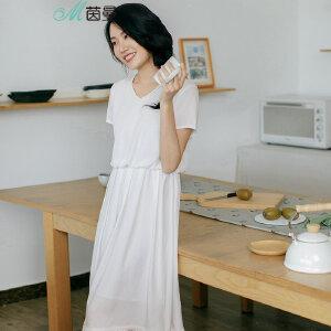 茵曼夏装新款领白色文艺范收腰天丝连衣裙中长裙【1872102547】