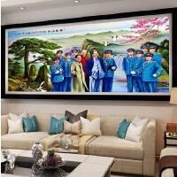 大幅*迎客松江山如画风景画十字绣客厅背景画满钻钻石画点钻
