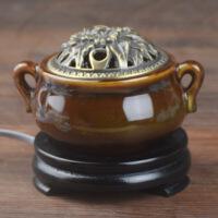 熏香炉电子 电香炉定时调温 电子香薰炉陶瓷沉檀香炉插电粉盖香薰灯精油熏香