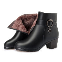 秋冬季短靴女中跟粗跟羊毛靴中年女士加绒棉皮鞋大码妈妈棉鞋