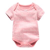 新生儿衣服夏季满月宝宝哈衣薄款包屁衣男短袖纯棉女婴儿睡衣夏装 主图色 BF35DB0023A