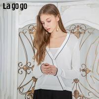 【清仓5折价143】Lagogo/拉谷谷2019年夏季新款V领开衫宽松针织衫女IAMM833G36