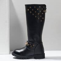 女童公主2017冬季新款靴子韩版长靴童鞋儿童皮靴秋冬高筒靴棉靴女