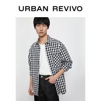 UR2020冬季新品男装薄款合体开襟衬衫复古格纹衬衫MI42S2GN2004